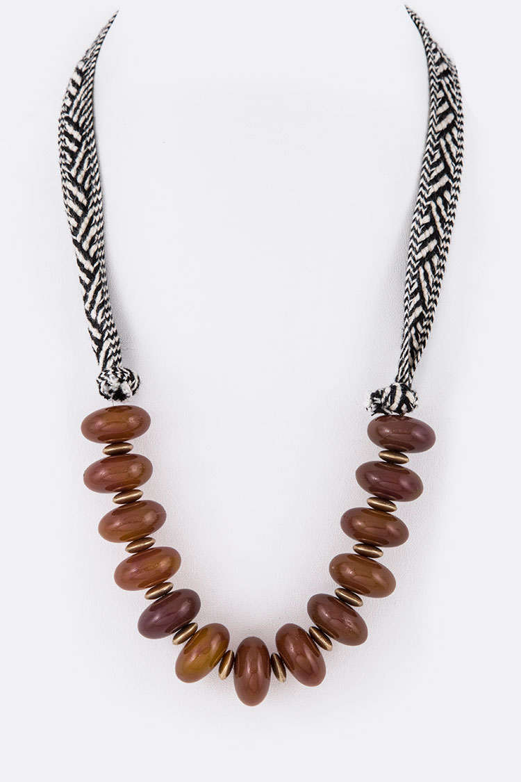 Amber String Beads Fashion Necklace