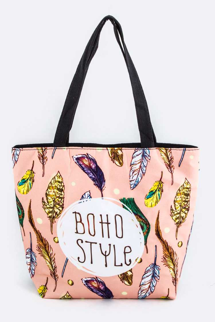 BOHO STYLE Feather Pattern Tote