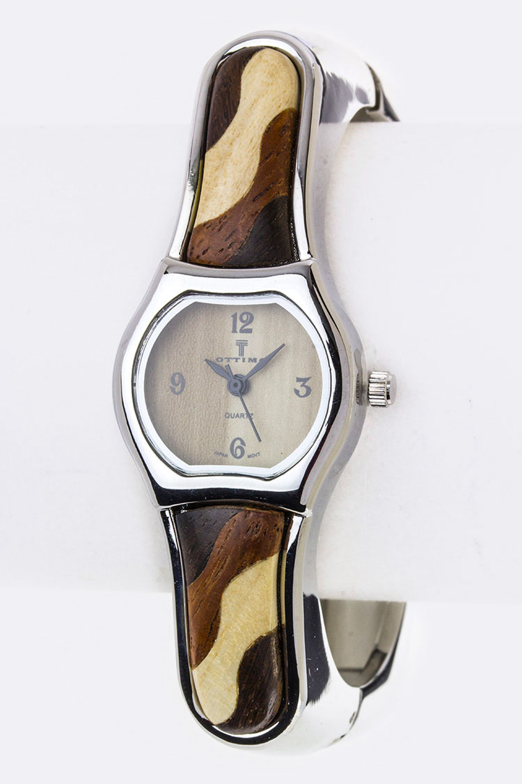 Wooden Square Bangle Watch