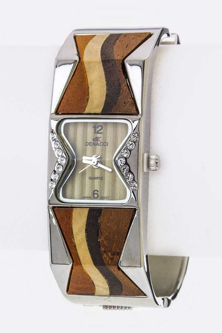 Wavy Wooden Accent Bangle Watch