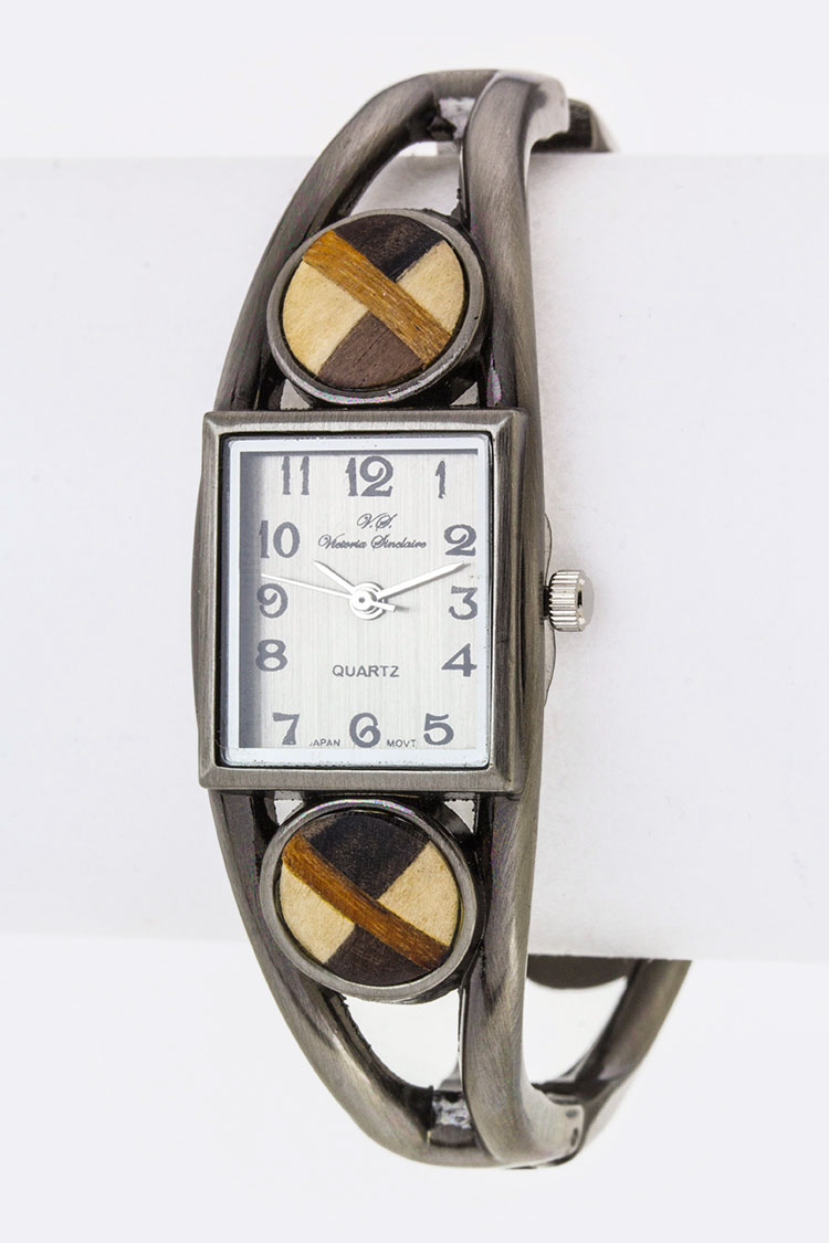 Checker Patterned Wooden Accent Bangle Watch