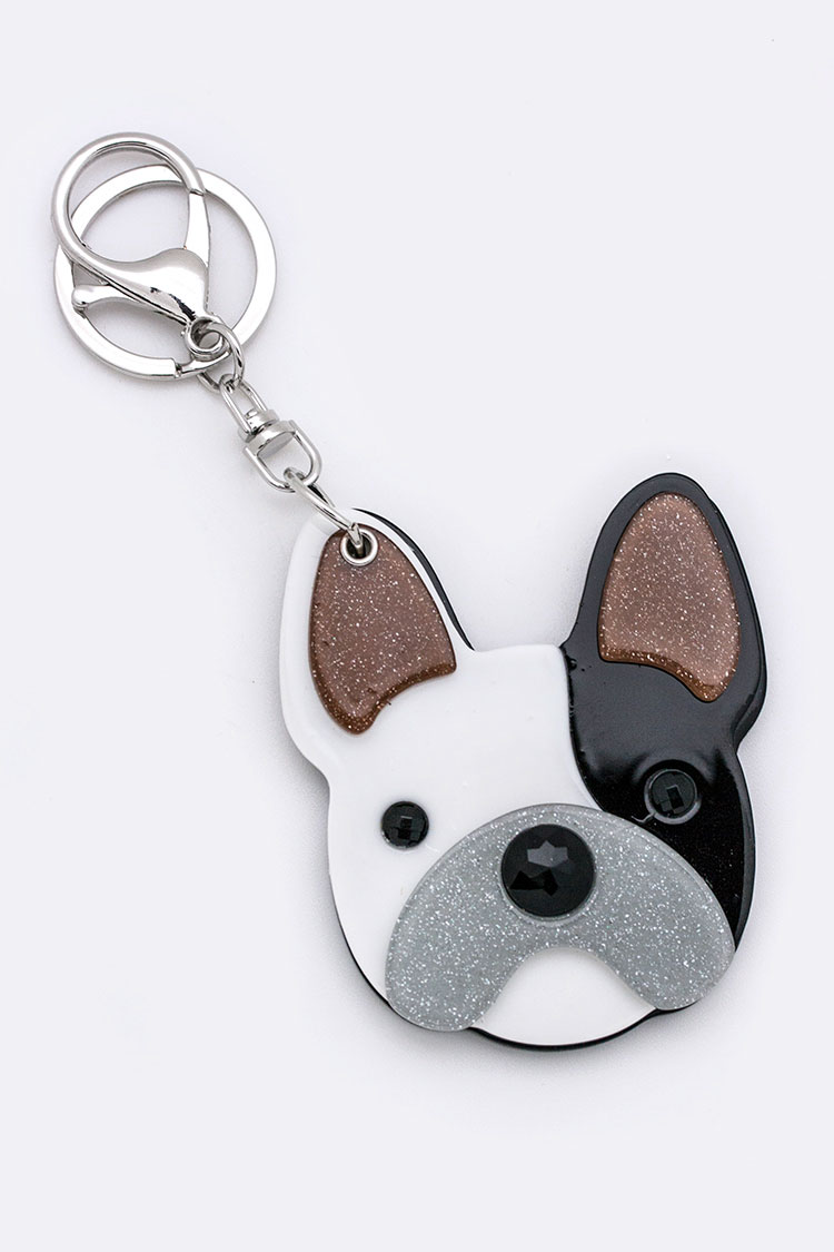 Puppy Compact Mirror Key Charm