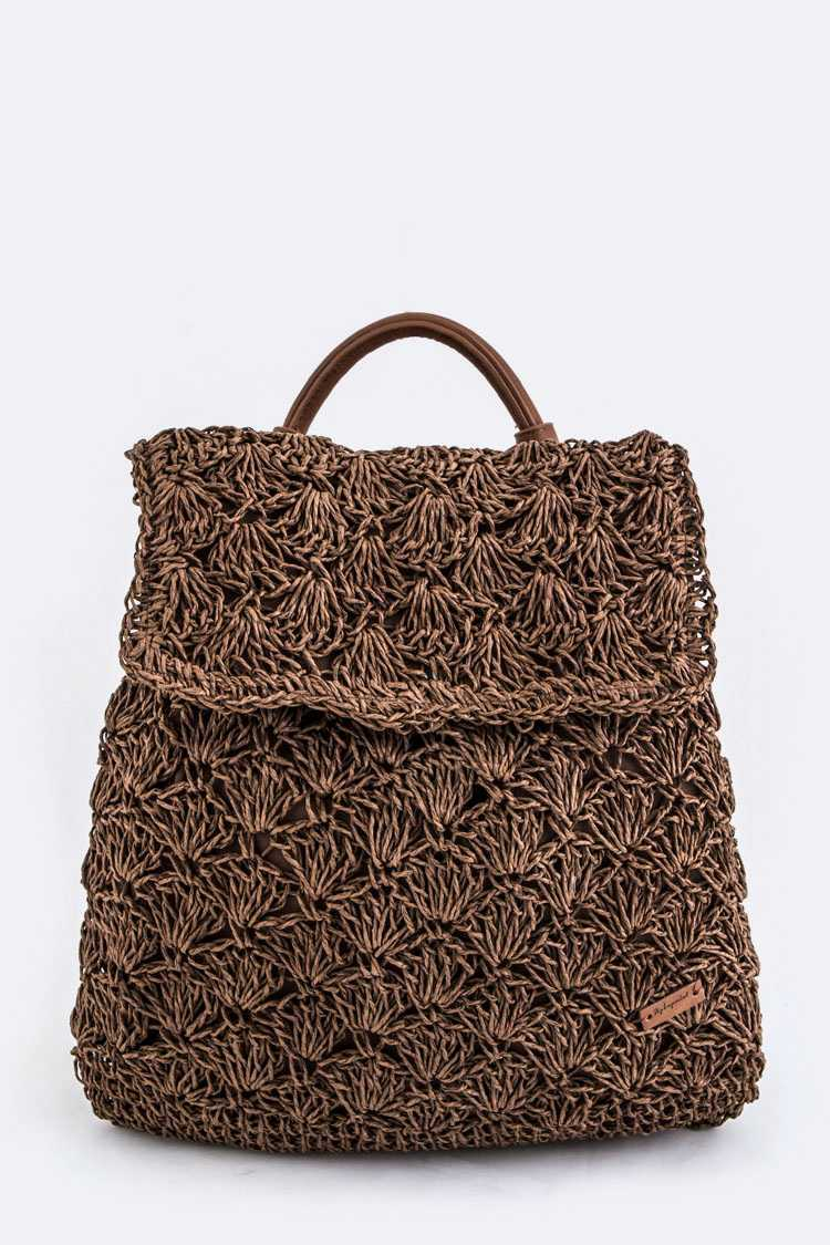 Straw Weave Iconic Backpack
