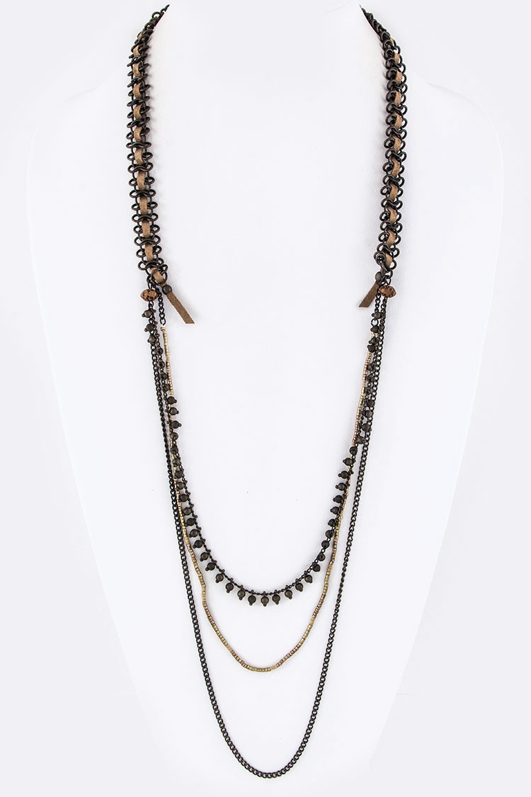 Laced Chain & Beads Layer Necklace
