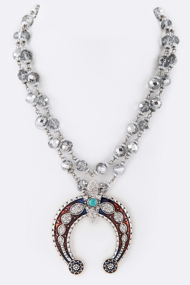 Crystal Squash Blossom Pendant Convertible Necklace