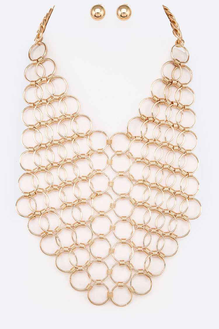 Hoop Link Statement Necklace Set