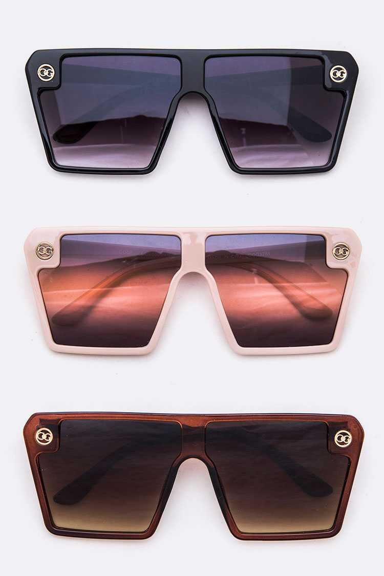 Mix Tint Shield Inspired Iconic Square Sunglasses Set