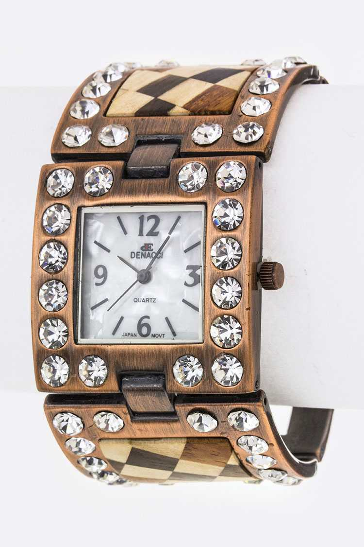 Crystal & Wooden Block Hinged Bracelet Watch