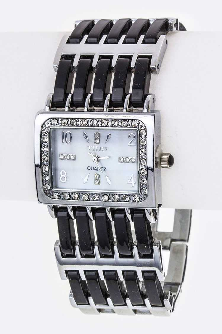 Hinged Resin Bars Bracelet Watch