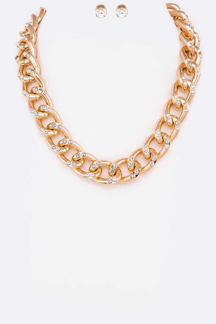 Crystal Chunky Chain Necklace Set