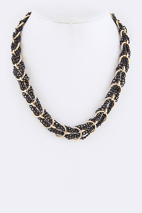 Mix Chains Braided Collar Fashion Necklace