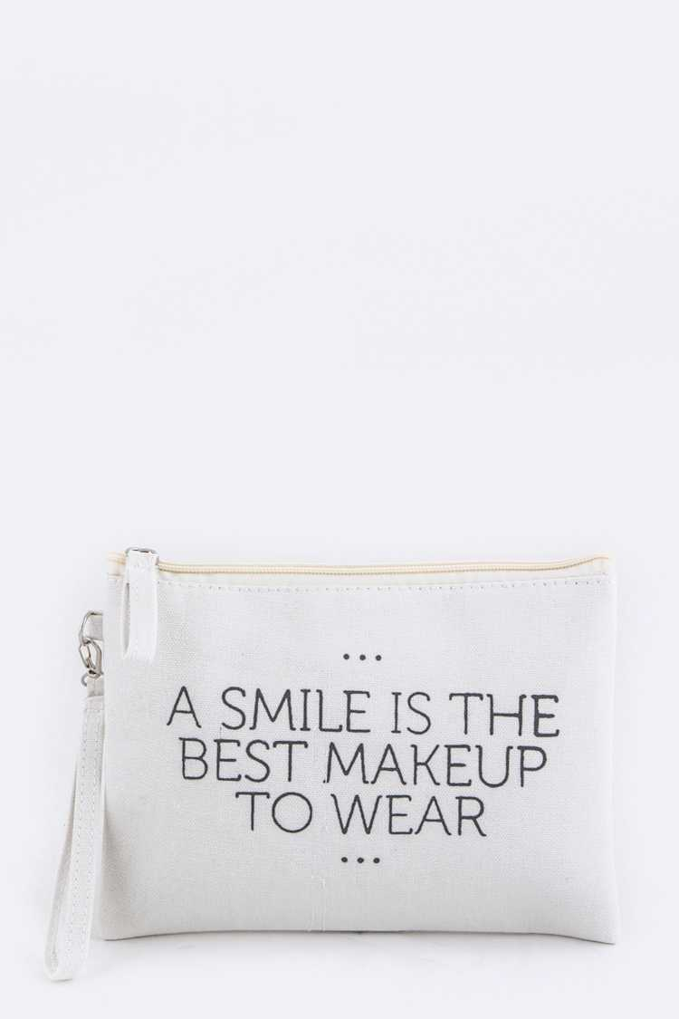 A SMILE IS... Wristlet Canvas Pouch
