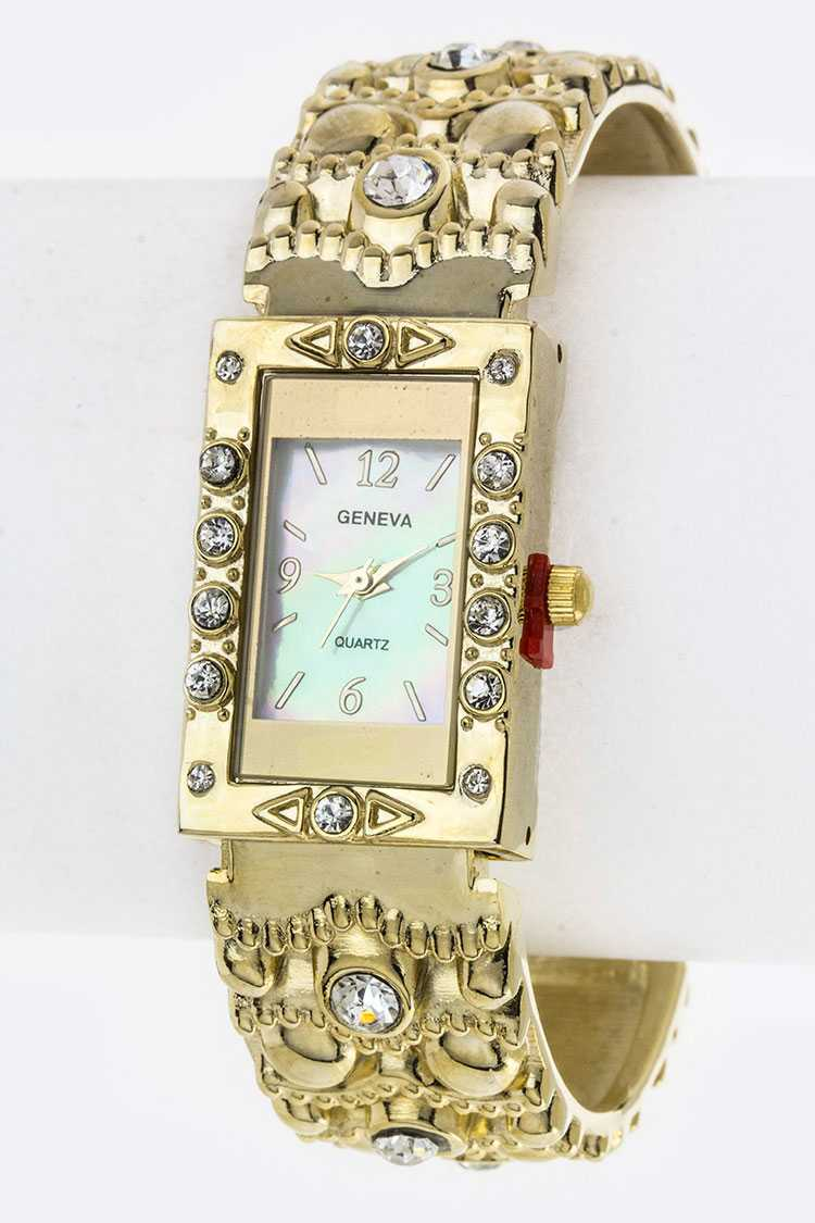 Pave Crystals & Embossed Bangle watch