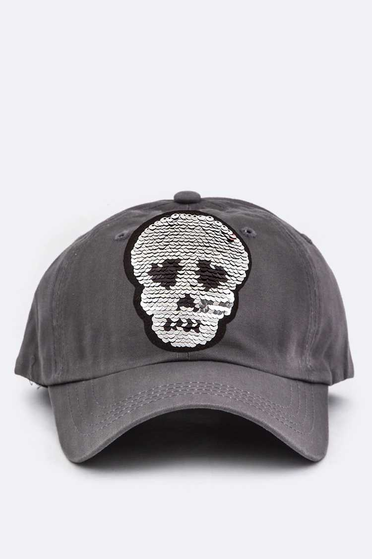 Skull Reversible Sequins Cotton Cap