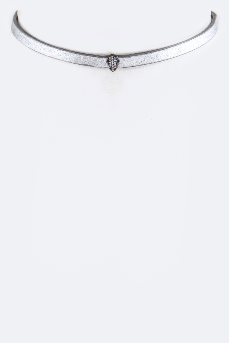 CZ Hamsa Leather Choker