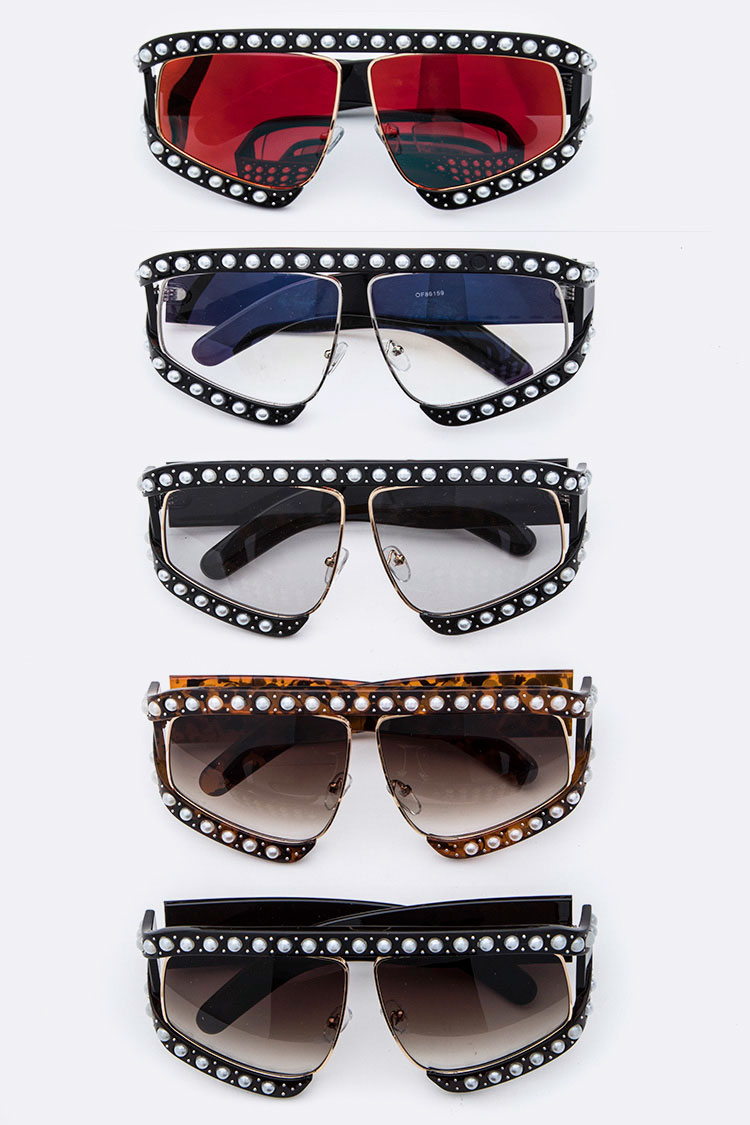 Pearl Accent Iconic Oversize Sunglasses