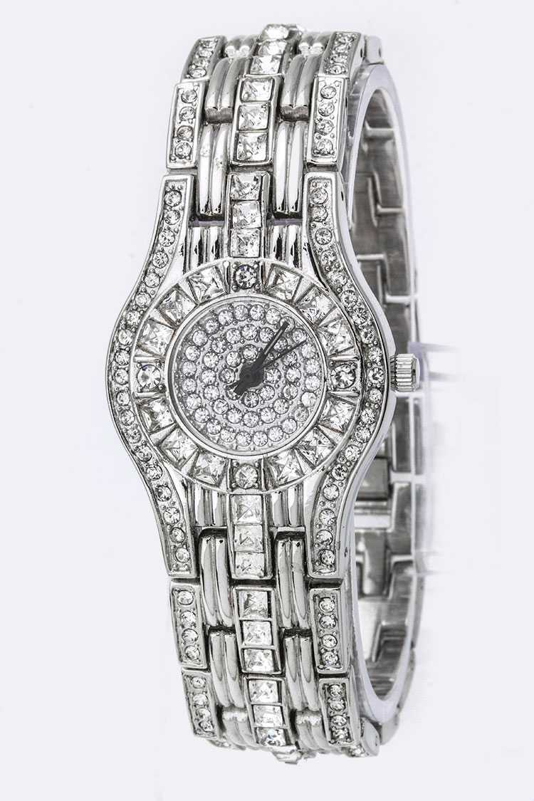 Pave Crystals Fashion Watch