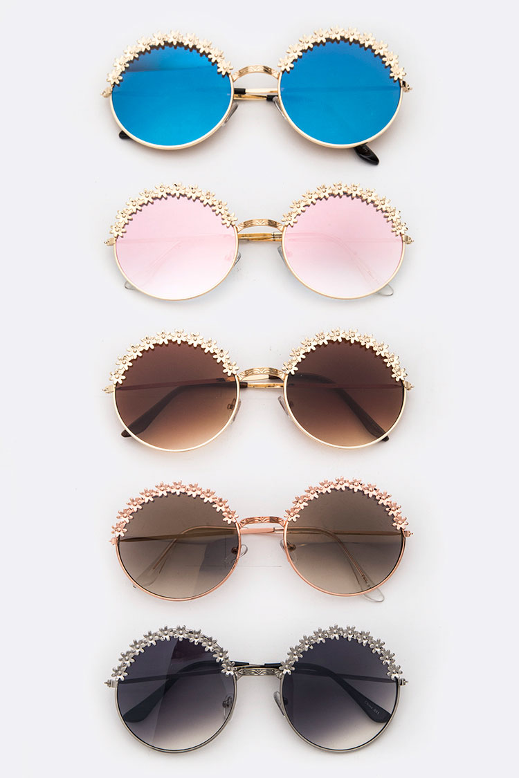Metal Flower Accent Round Sunglasses