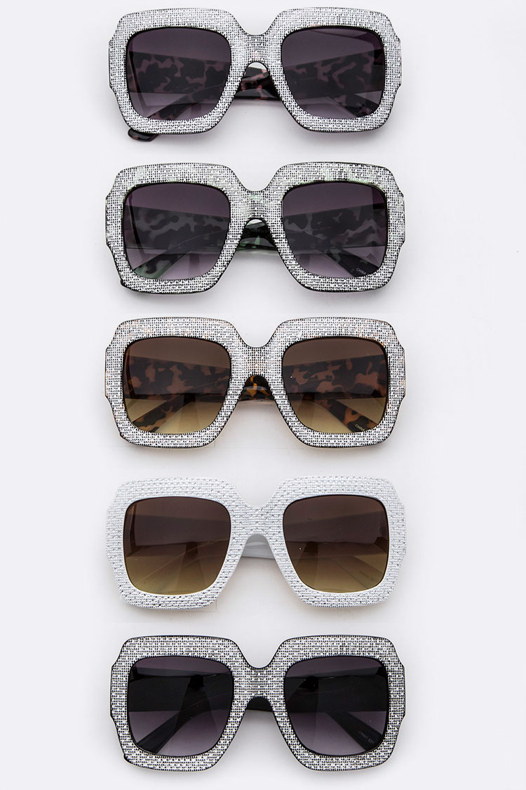 Metallic Frame Square Oversize Sunglasses