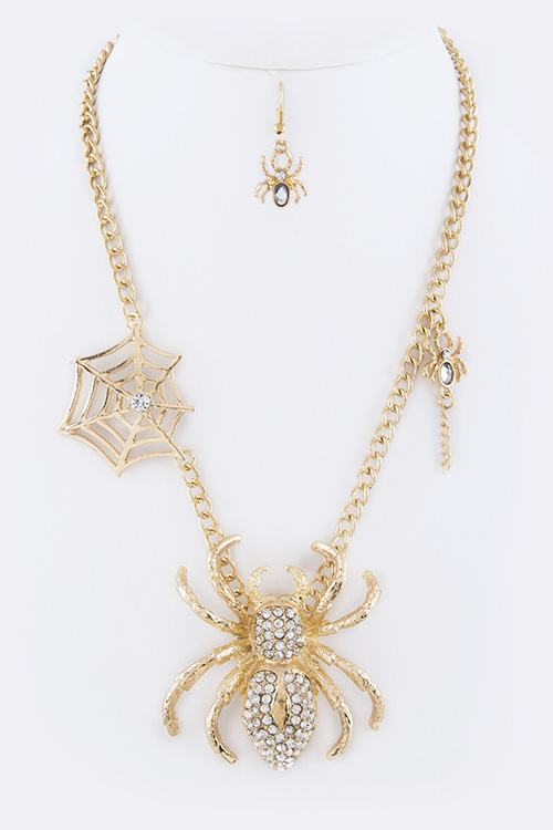 Crystal Spider Necklace Set