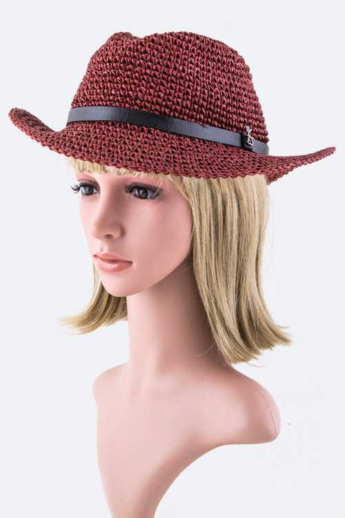 Crystal LOVE Tag Raffia Straw Hat