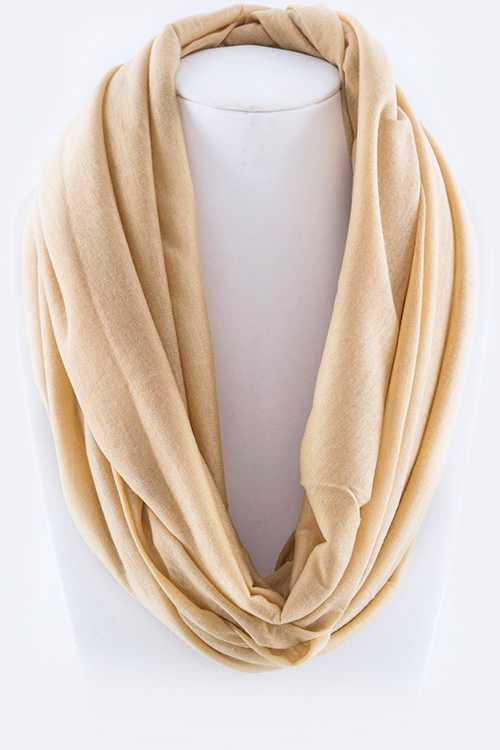 Jersey Knit Solid Color Stretch Infinity Scarf
