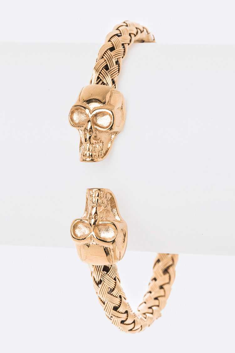 Double Skull Textured Stainless Steel Bangle