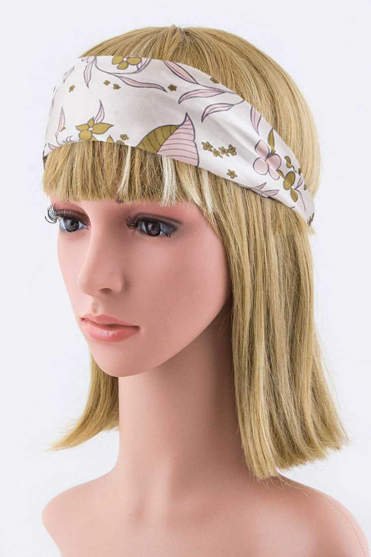 Floral Print Silk Stretch Headband