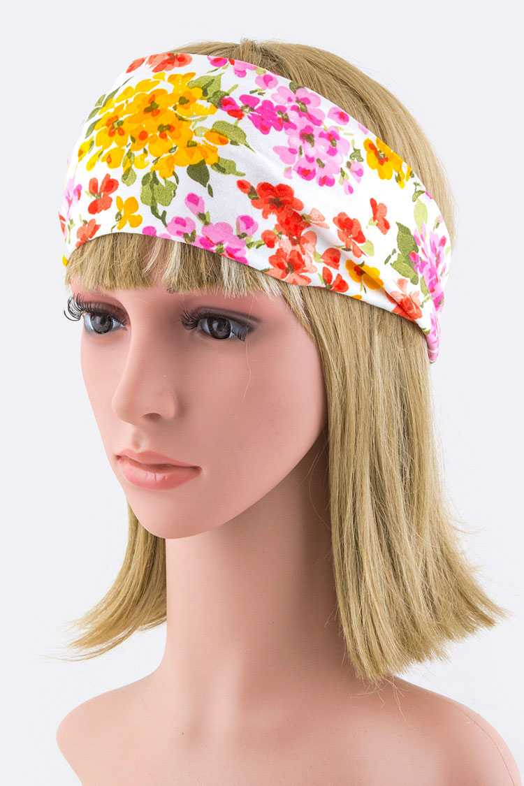 Flower Print Knotted Stretch Headband