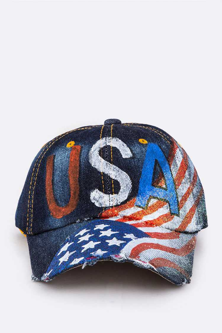 USA Painted Denim Cap