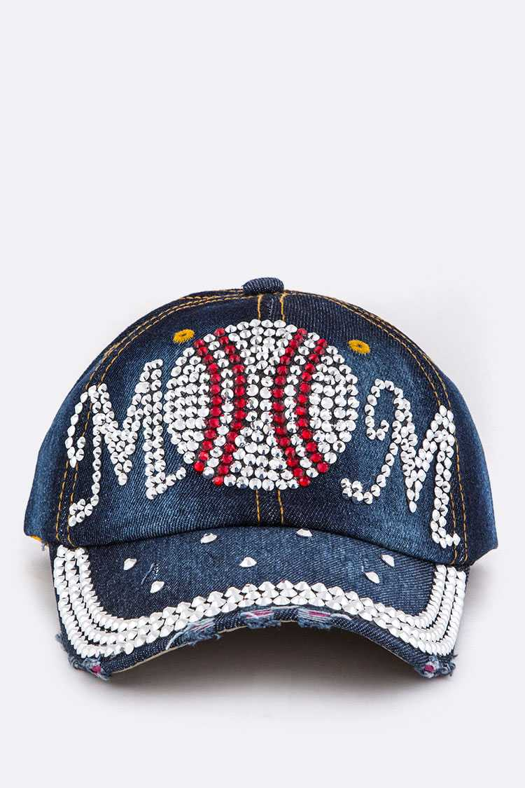 Baseball Mom Crystal Denim Cap