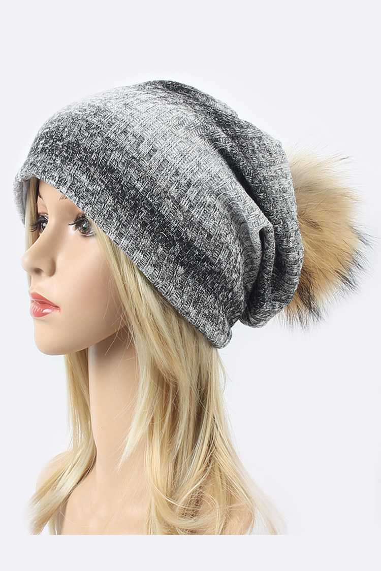 Raccoon Fur Stripe Cotton Blend Slouchy Beanie
