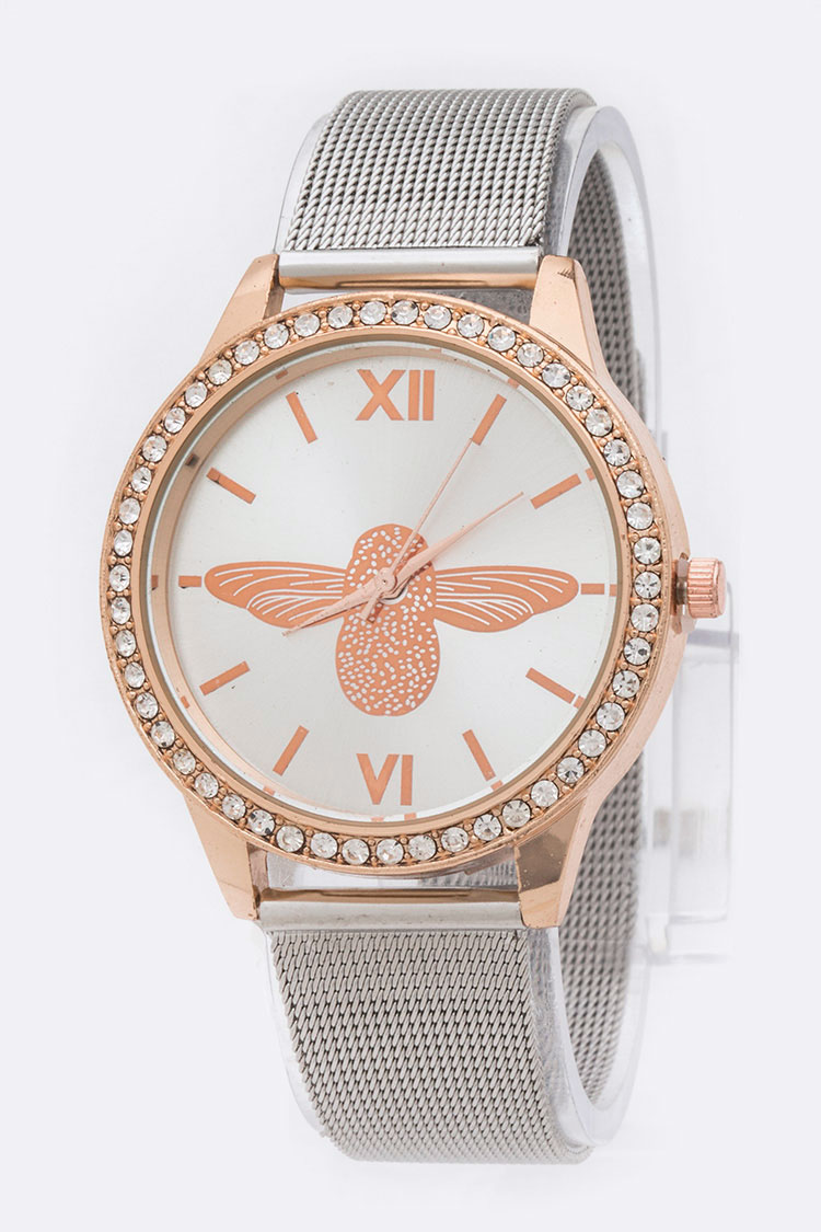 Bee Dial 2 Tone Mesh Band Fashion Watch