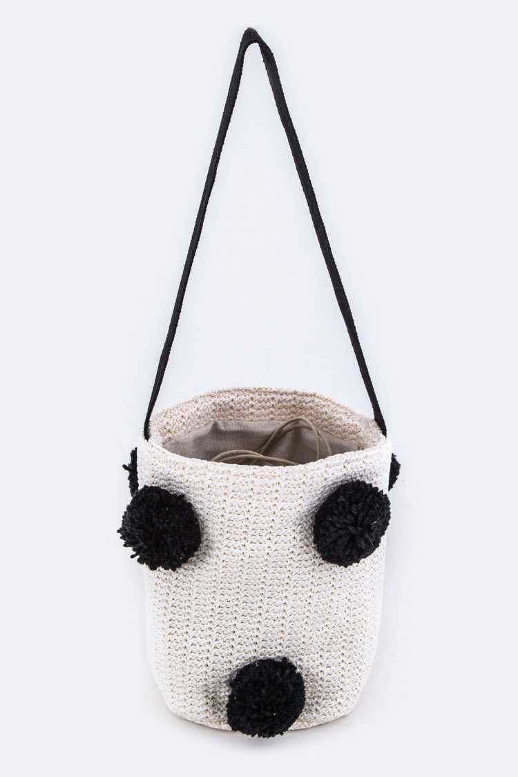 PomPom Straw Bucket Bag