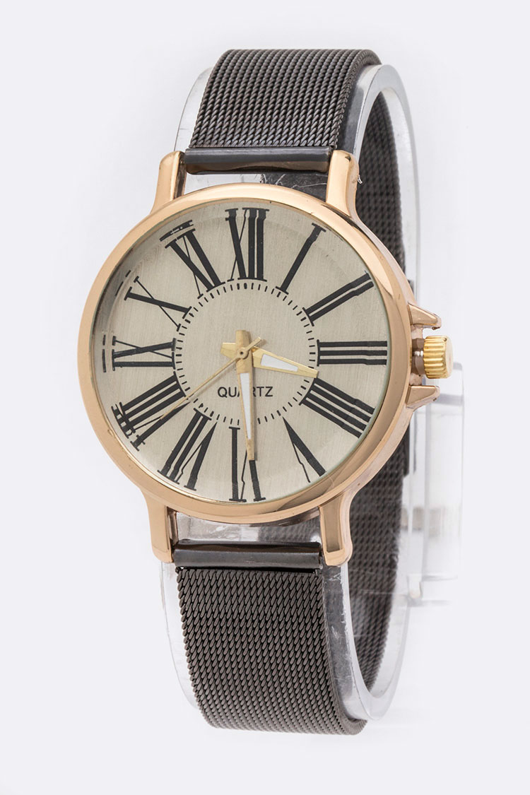 Roman Dial Mesh Band Fashion Watch