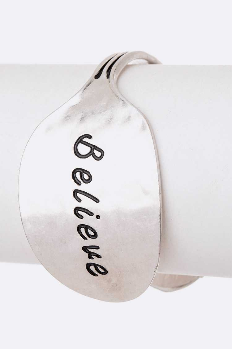 Believe Engraved Spoon Bangle