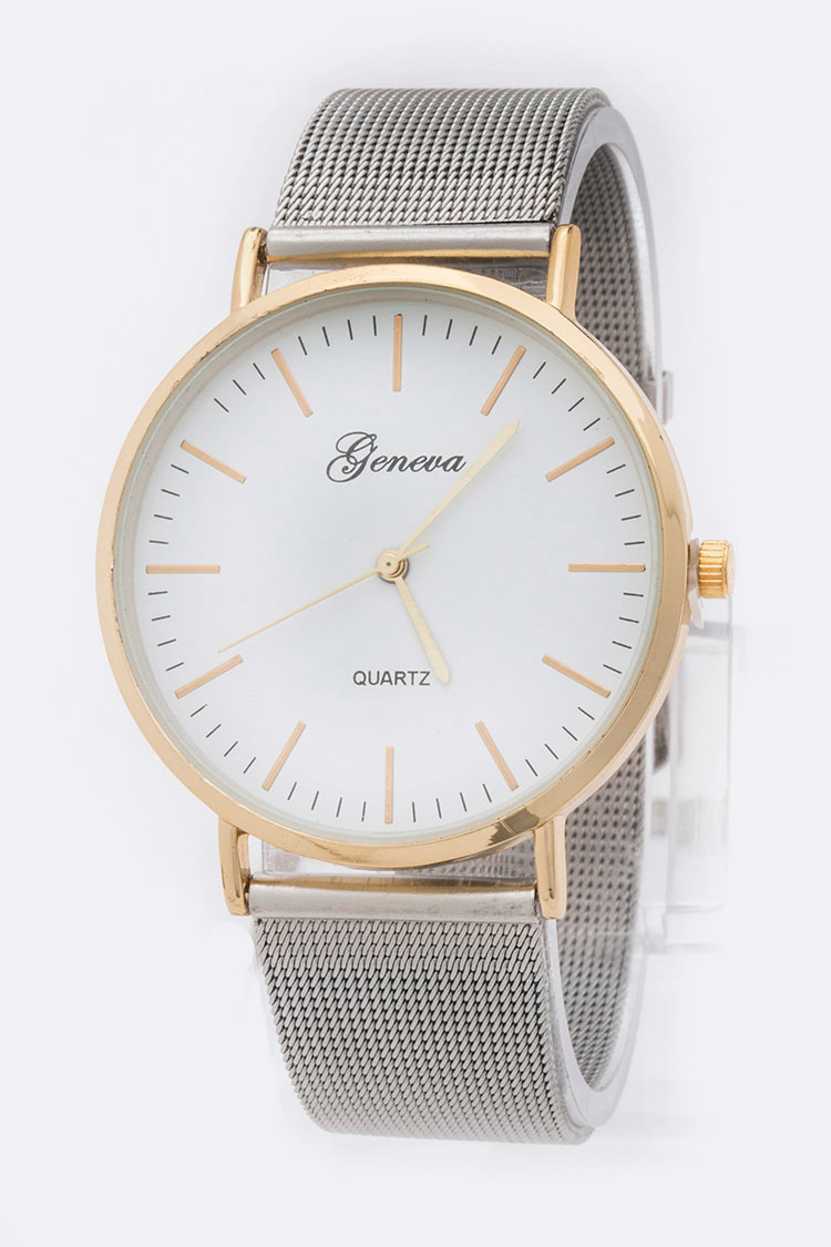 Geneva Classic Mesh Band 2 Tone Watch