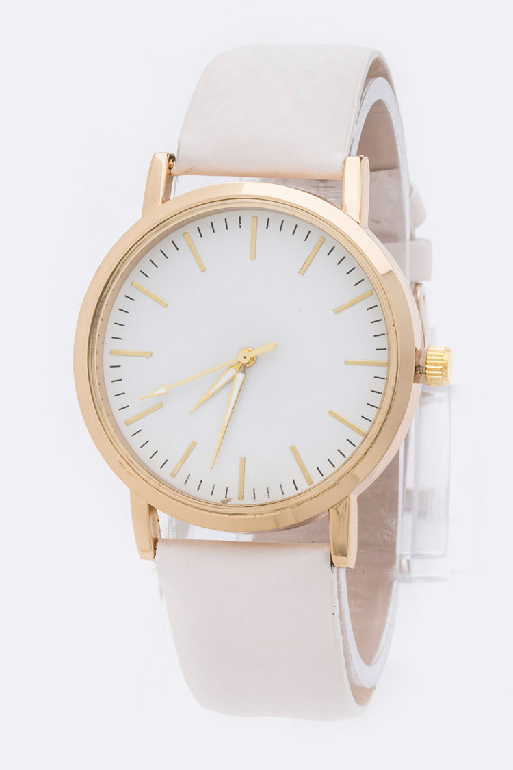 Simple Dial Classic Leather Band Fashion Watch