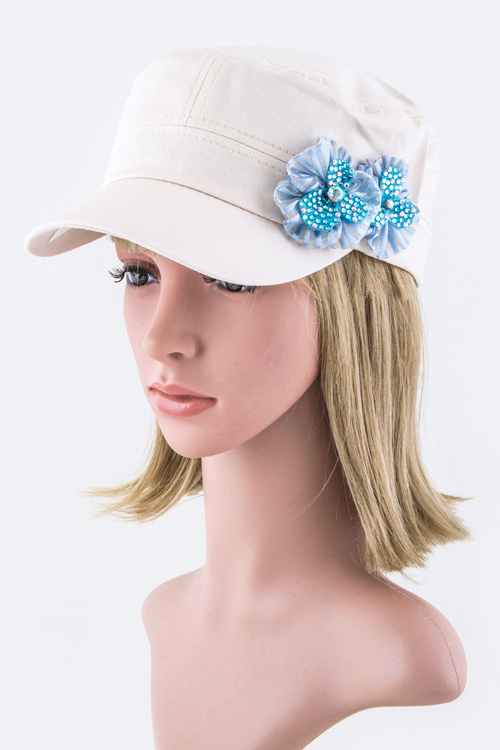 Double Floral Bow Military Cap