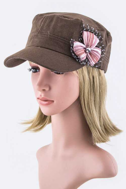 Crystal & Mesh Bow Accent Cadet Cap