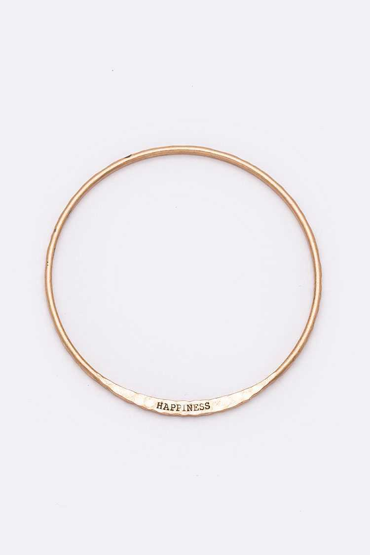 HAPINESS Engraved Infinity Bangle