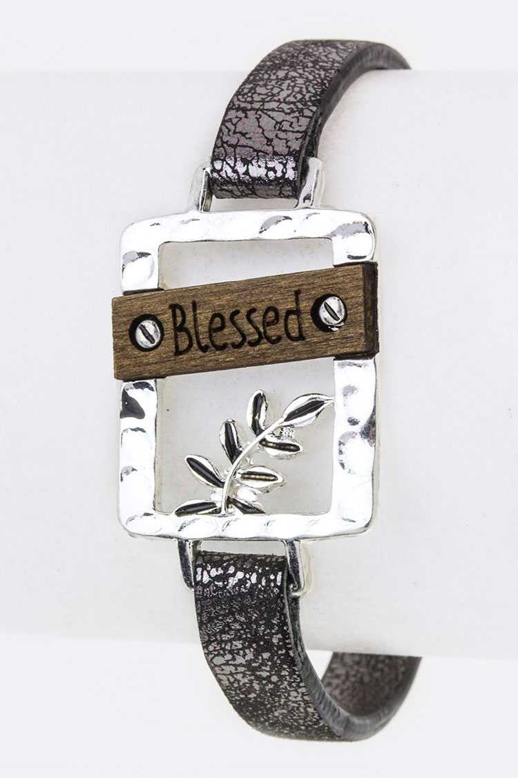Blessed Wood Carved Tag Cuff