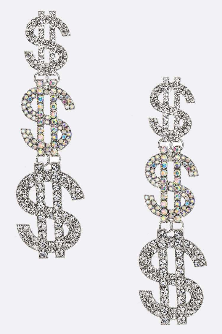 Crystal Dollar Sign Oversize Statement Earrings