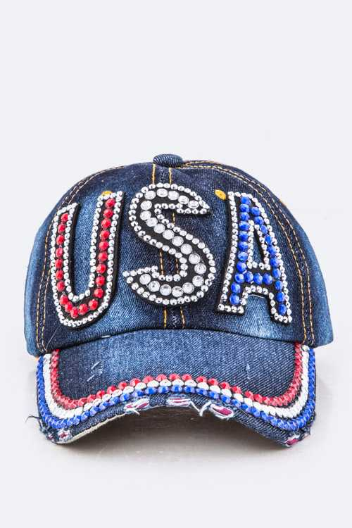 Crystal USA Embelished Fashion Denim Cap