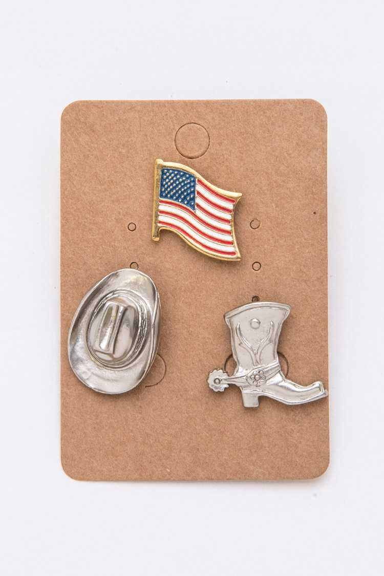 USA Flag Western Theme Pin Set