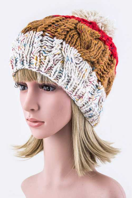 Mix Color Blocks Pom Pom Beanie