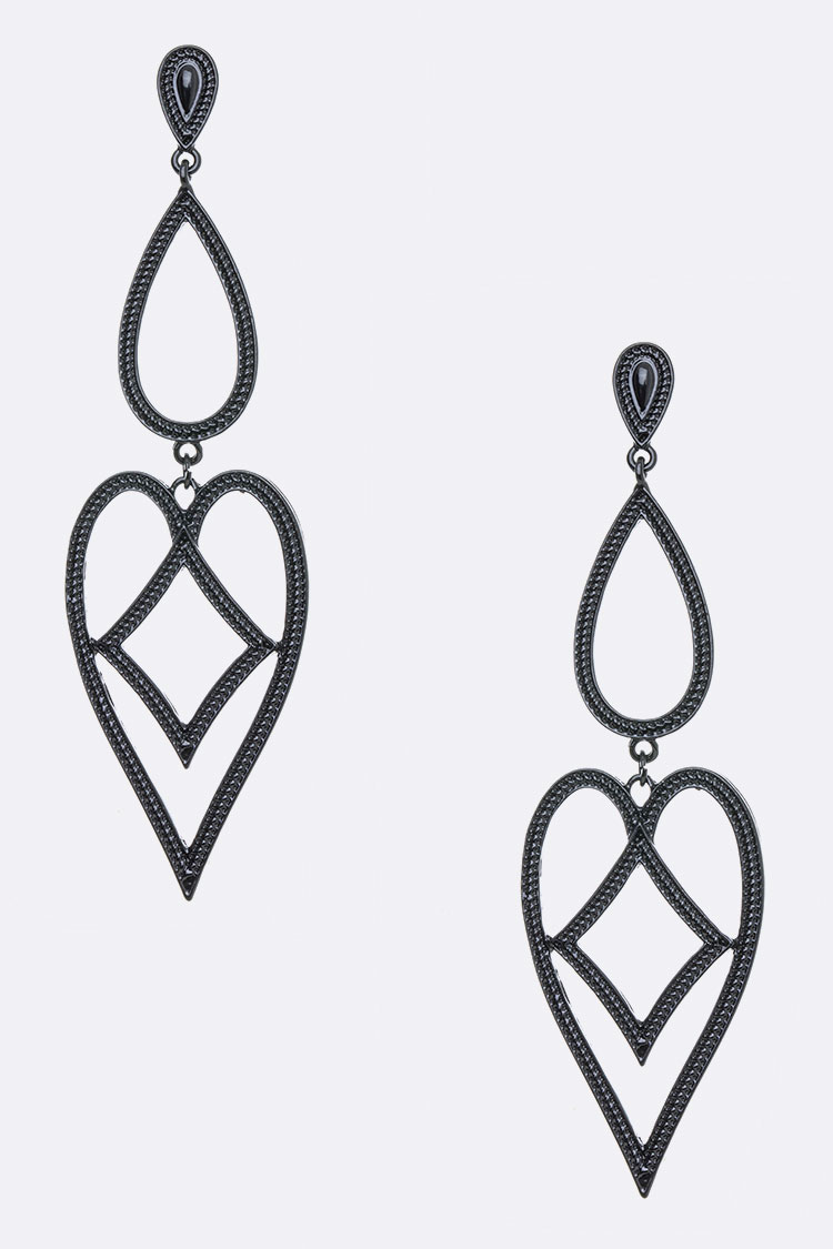 Extra Large Textured Cutout Drop Earrings