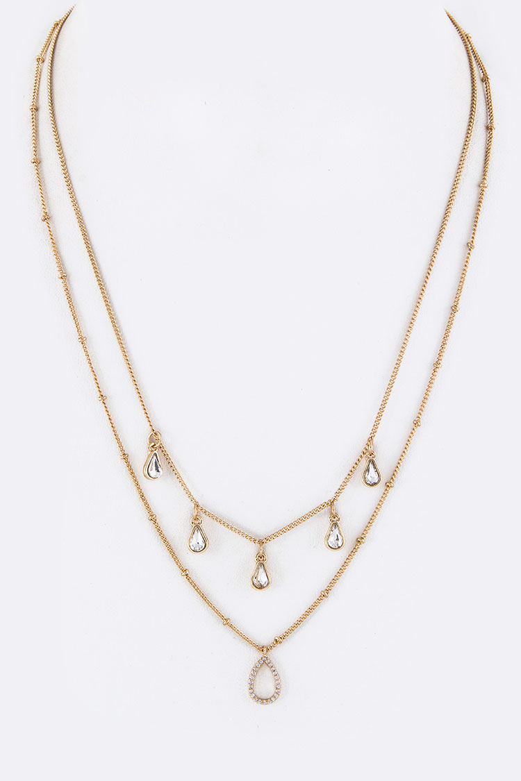 Crystal Teardrop Layered Necklace Set