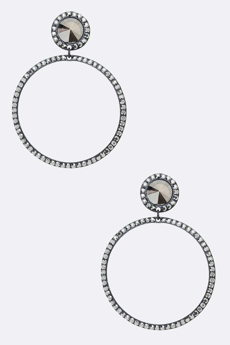 Crystal Pave Round Hoop Drop Earrings