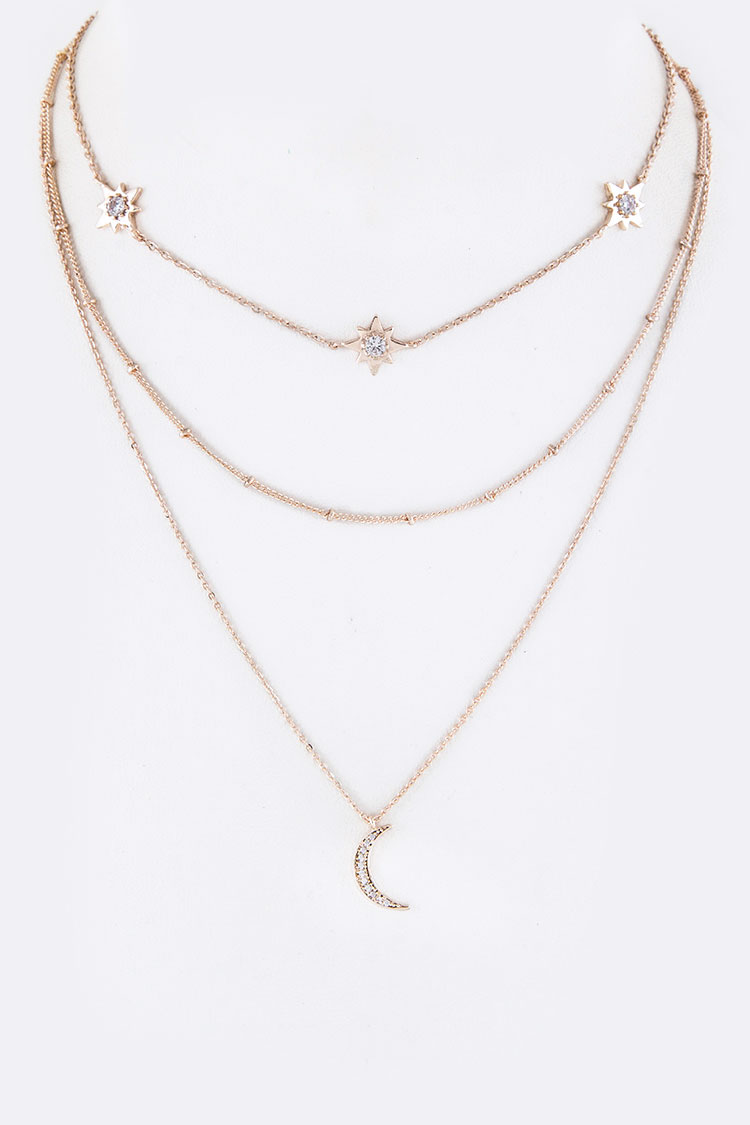 CZ Stars & Crescent Charm Layer Necklace